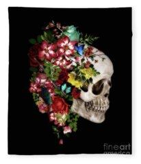 Skull Floral Fleece Blanket