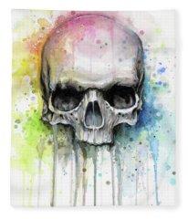 Skull Watercolor Rainbow Fleece Blanket