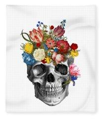 Skull With Flowers Fleece Blanket