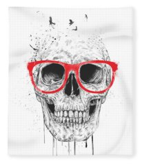 Skull With Red Glasses Fleece Blanket