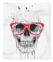 Skull With Red Glasses Fleece Blanket