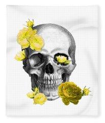 Skull Yellow Roses Fleece Blanket