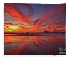 Sky On Fire At The Imperial Beach Pier Fleece Blanket