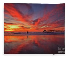 Sky On Fire At The Imperial Beach Pier Fleece Blanket