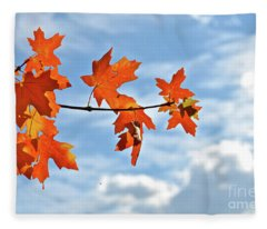 Sky View With Autumn Maple Leaves Fleece Blanket
