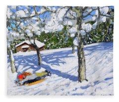 Sledging In The Orchard, Morzine Fleece Blanket