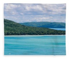 Sleeping Bear Dunes Scenic Overlook On Lake Michigan Fleece Blanket