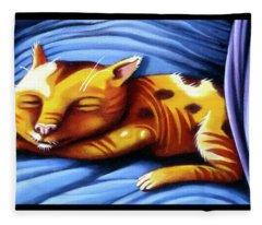 Sleeping Kitty Fleece Blanket