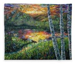 Sleeping Meadow Palette Knife Painting Fleece Blanket