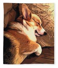 Banjo The Sleeping Welsh Corgi Fleece Blanket