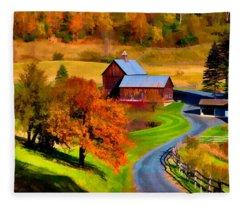 Digital Painting Of Sleepy Hollow Farm Fleece Blanket