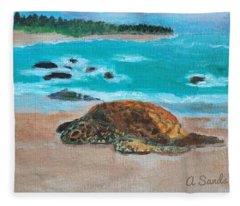 Sleepy Sea Turtle Fleece Blanket