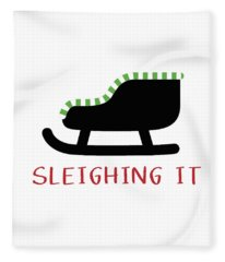 Sleighing It- Art By Linda Woods Fleece Blanket