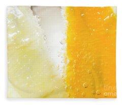 Slice Of Orange And Lemon In Cocktail Glass Fleece Blanket