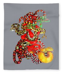 Fleece Blanket featuring the drawing Slither by Barbara Keith