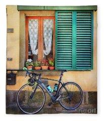 Sliver And Black Bianchi Bicycle Fleece Blanket