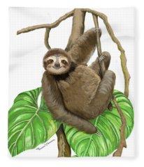 Hanging Three Toe Sloth  Fleece Blanket