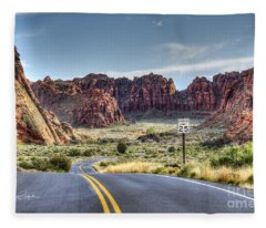Slow Down In Snow Canyon Fleece Blanket