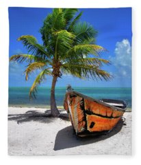 Small Boat And Palm Tree On White Sandy Beach In The Florida Keys Fleece Blanket