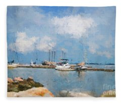 Small Dock With Boats Fleece Blanket