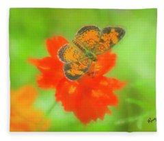 Small Orange And Black Moth On Red Flower. Fleece Blanket