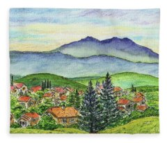 Small Town Mountains And Hills Fleece Blanket