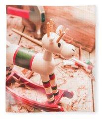 Small Xmas Reindeer On Wood Shavings In Workshop Fleece Blanket