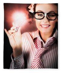 Smart Business Person Holding Light Bulb In Hand Fleece Blanket