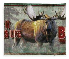 Smells Like Bull Sign Fleece Blanket