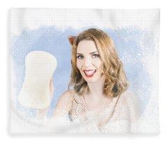 Smiling Cleaning Woman Washing Window With Sponge Fleece Blanket