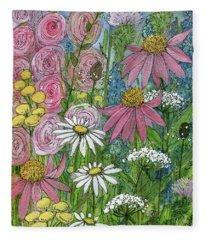 Smiling Flowers Fleece Blanket