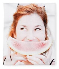 Smiling Summer Snack Fleece Blanket