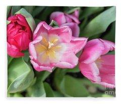 Smiling Tulips Fleece Blanket