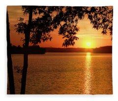 Smith Mountain Lake Silhouette Sunset Fleece Blanket