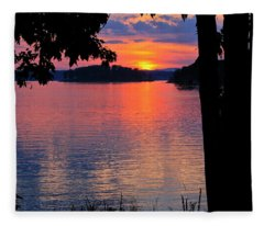 Smith Mountain Lake Sunset Fleece Blanket
