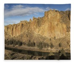 Smith Rock And Crooked River Panorama Fleece Blanket