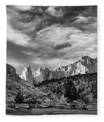Smith Rock Bw Fleece Blanket