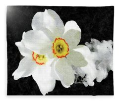 Smokey White Floral Fleece Blanket
