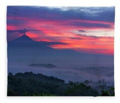 Smoking Volcano And Borobudur Temple Fleece Blanket