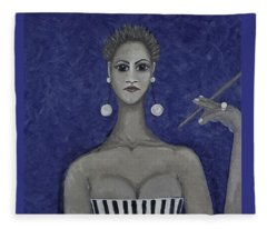 Smoking Woman 3 - Blue Fleece Blanket