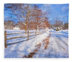 Snow And Fence Fleece Blanket