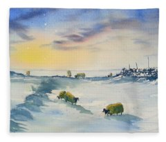 Snow And Sheep On The Moors Fleece Blanket