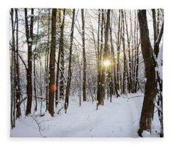 Snow And Trees Fleece Blanket