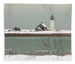 Snow At Scituate Lighthouse Fleece Blanket
