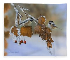 Snow Chickadees Fleece Blanket