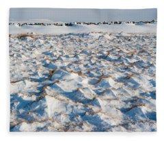 Snow Covered Grass Fleece Blanket