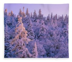 Alpenglow Snow Covered Trees Fleece Blanket