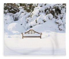 Snow Dwarfed Bench Fleece Blanket