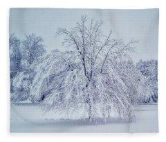 Snow Encrusted Tree Fleece Blanket