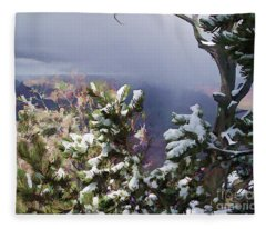 Snow In The Canyon Fleece Blanket